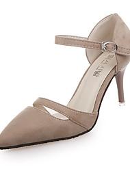 Women's Heels Comfort Slouch boots PU Spring Summer Casual Office & Career Walking Comfort Slouch boots Buckle Stiletto HeelBlack Beige