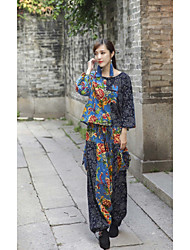 Women's High Rise strenchy Chinos Pants,Chinoiserie Loose Harem Print