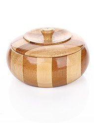 Bamboo and wood technology of Chinese characteristics .Circular striped ashtray .An ashtray with a lid .