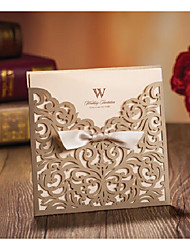 50 Gold Laser Cutting Wedding Party Invitations Card With Ribbon Bow and Envelope Bridal Engagement Invitations CW5011