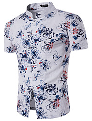 Masculino Camisa Social Casual Moda de RuaFloral Poliéster Colarinho de Camisa Manga Curta