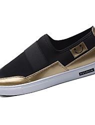 Masculino-Mocassins e Slip-Ons-Conforto-Rasteiro-Preto Preto e Dourado Branco/Preto-Tecido-Casual