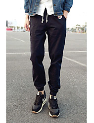 Men's High Rise Micro-elastic Chinos Pants,Simple Skinny Solid
