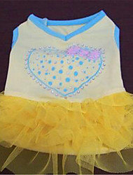 Dog Dress Dog Clothes Cute Hearts Yellow Blue