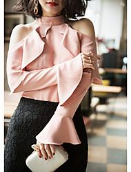 Tee-shirt Femme,Couleur Pleine Sortie simple Manches Longues Licou Coton