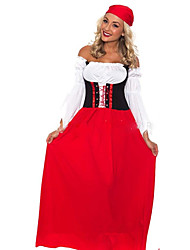 Fantasias de Cosplay Oktoberfest Festival/Celebração Trajes da Noite das Bruxas Vermelho Cor Única Vestido Dia Das Bruxas Oktoberfest
