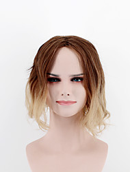 The latest fashion lady short paragraph wig mixed color gradient light brown gold in the sub-natural wave high temperature wire wig