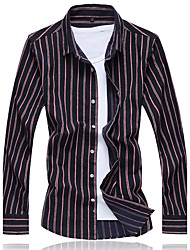 Men's Going out Casual/Daily Work Vintage Simple Street chic All Seasons Shirt,Solid Striped Shirt Collar Long Sleeve Cotton Thin