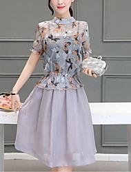 Trapèze Robe Femme Décontracté / Quotidien simple,Fleur Mao Mi-long Manches Courtes Coton Eté Taille Normale Micro-élastique Moyen