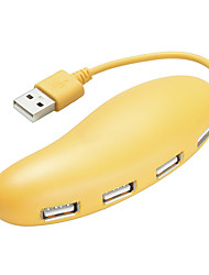 4 Ports USB 2.0 High Speed HUB Cute Yellow
