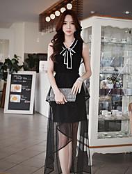 Mujer Regular Pullover Noche Casual/Diario Trabajo Simple Chic de Calle Sofisticado,Un Color Bloques Escote Chino Sin Mangas Nailon Otro