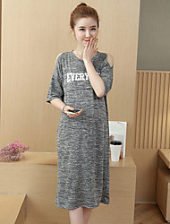 Maternity Summer Wear Fashionable Sweet  Off-the-shoulder With Short Sleeves Printing Straight Knee Leisure Pregnant Women Dress