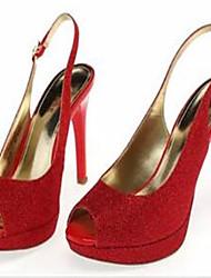 Damen-Sandalen-Lässig-PU-Stöckelabsatz-Fersenriemen-Rot