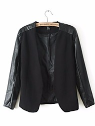 Women's Casual/Daily Work Simple Street chic Fall Leather Jacket,Solid Stand Short Others