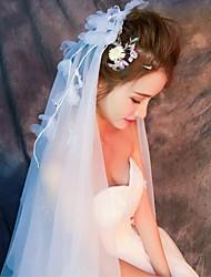 Hochzeitsschleier Zweischichtig Gesichts Schleier Ellbogenlange Schleier Fingerspitzenlange Schleier Schnittkante Tüll Spitzen