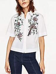 Mujeres que salen casual / diario simple calle chic otoño camisa de invierno, sólida camisa de cuello de manga larga blanco algodón medio