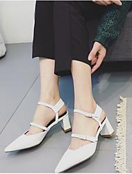 Damen-High Heels-Lässig-PUFersenriemen-Weiß Schwarz