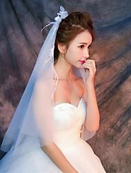 Hochzeitsschleier Zweischichtig Ellbogenlange Schleier Fingerspitzenlange Schleier Schnittkante Tüll