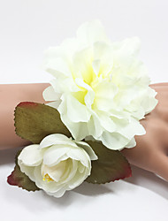 Свадебные цветы Ручная работа Розы Букетик на запястье Эластичный атлас 2,5 см