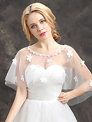 Women's Wedding Wrap Capelets Sleeveless Ponchos Lace Tulle Wedding Party/Evening Flower(s) Lace Pearls Rhinestone Grace Bride Shawl White