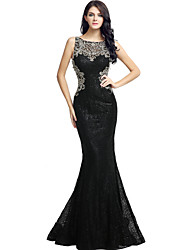 Mermaid / Trumpet Bateau Neck Floor Length Sequined Formal Evening Dress with Beading Sequins