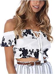 Frauen gehen aus casual / täglich sexy einfach niedlichen Frühling fallen T-Shirt, bestickt Boot Hals kurzen Ärmel Polyester Medium