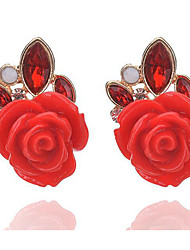 Earring Oval,Jewelry 1 pair Adorable Alloy / Glass Black / White / Red / Brown Party