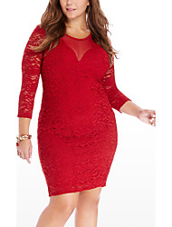 Women's Plus Size Party Club Sexy Simple Street chic Bodycon DressPatchwork Mesh Lace Over Hip Backless Round Neck Above Knee Long Sleeve Spring Fall