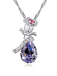 Women's Pendant Necklaces Jewelry Jewelry Gem Alloy Unique Design Cute Style Light Green Light Blue Blushing Pink Purple Gold Jewelry For