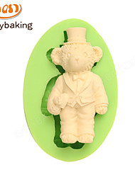 Animal Mould Formal Dress Teddy Bear Fondant Silicone Molds for cake decorating Colour Random