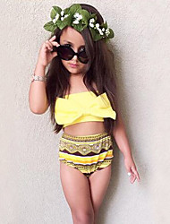 Girls' Bow  Print Geometric Swimwear Cotton Sandy Beach Swimming Kids Baby Clothing FenLieShi Yellow Swimsuit