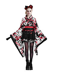 Punk Rave LQ-001 Women's Sexy Vintage Geometric Color Block Jacquard Cute Dress Original Kimono