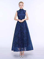 A-Line High Neck Ankle Length Lace Bridesmaid Dress with Sash / Ribbon
