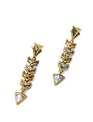Stud Earrings Crystal Euramerican Personalized Chrome Triangle Shape Gold Jewelry For Housewarming Thank You Business 1 pair