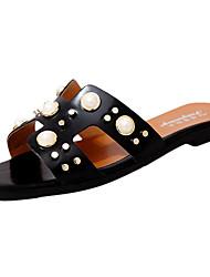 Women's Slippers & Flip-Flops Sandals Comfort PU Summer Casual Walking Comfort Beading Flat Heel White Black Brown 2in-2 3/4in
