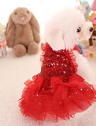Chien Robe Vêtements pour Chien Mignon Mode Princesse Rouge Rose
