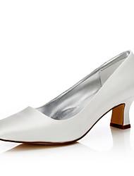 Damen-Hochzeit Schuhe-Hochzeit Outddor Büro Kleid Party & Festivität-Seide-Blockabsatz-Komfort einfärbbar Schuhe-Elfenbein