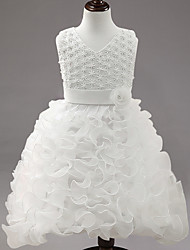 Ball Gown Tea-length Flower Girl Dress - Organza Satin V-neck with Bow(s) Embroidery Flower(s) Pearl Detailing Sash / Ribbon