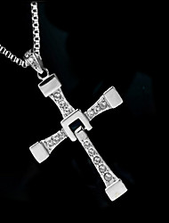 Men's Pendant Necklaces Zircon Simulated Diamond Alloy Cross Fashion Silver Jewelry Wedding Party Daily Casual 1pc