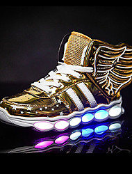 LED's Shoes Girls' Boys' Boys' Sneakers Summer Fall Light Up Shoes Wing Synthetic Outdoor Athletic Casual Flat Heel Lace-up Red Sliver Black Gold