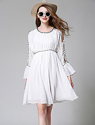 Women's Going out Casual/Daily A Line Dress,Solid Round Neck Above Knee Short Sleeve Polyester Spring Summer Mid Rise Inelastic Thin