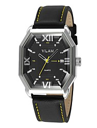 Men's Mechanical Watch Quartz Water Resistant / Water Proof Leather Band Vintage Cool Casual Black Brand Vilam