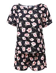 Mujer Chic de Calle Casual/Diario Primavera Verano T-Shirt Pantalón Trajes,Escote Redondo Floral Manga Corta