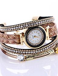 Mulheres Bracele Relógio Quartzo / PU Banda Brilhante Preta Vermelho Marrom Cáqui