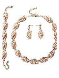 Nuptiales Parures Perle imitée euroaméricains Perle Forme Géométrique 1 Collier 1 Paire de Boucles d'Oreille 1 Bracelet PourMariage