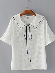 Damen Solide Einfach Alltag T-shirt,Hemdkragen ½ Länge Ärmel Baumwollmischung