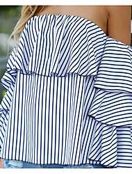 Tee-shirt Femme,Rayé Vintage Eté ½ Manches Epaules Dénudées Coton Moyen