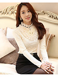 Large stock fall and winter plus thick velvet lace long-sleeved shirt