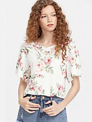 Damen Blumen Street Schick Anspruchsvoll Lässig/Alltäglich Urlaub T-shirt,V-Ausschnitt Sommer Kurzarm Polyester Dünn