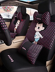 Car Seat Cushion Car Ceat Cushion Cets Of Family Car Cartoon Cute Ice Silk Cloth Material---Black Rose Red Spot-218